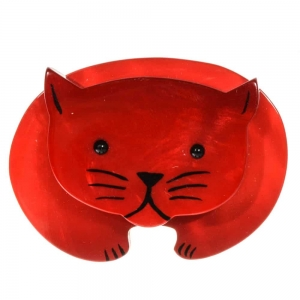 broche chat ours rouge