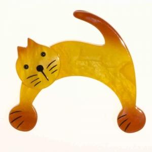broche chat patou jaune