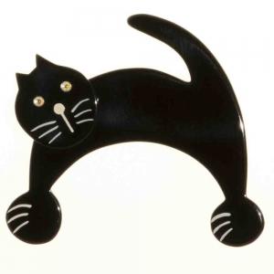broche chat patou noir