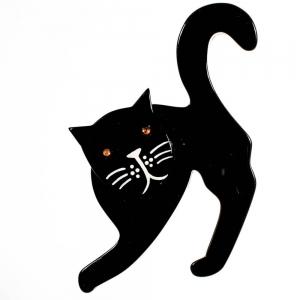 broche chat pise noir