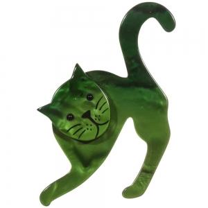 broche chat pise vert