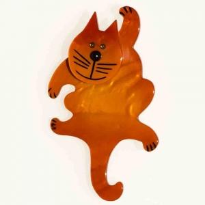broche chat pitre orange