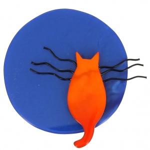 broche chat pleine lune bleu et roux