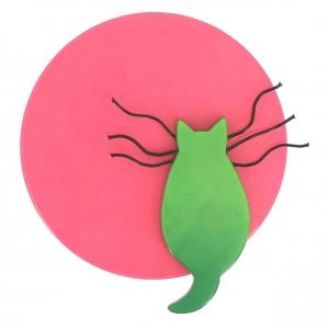 broche chat pleine lune fuchsia et vert