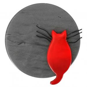 broche chat pleine lune gris et rouge