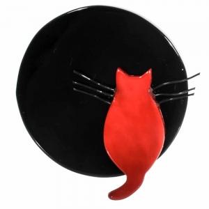 broche chat pleine lune noire et rouge