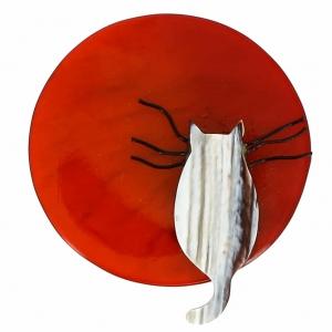 broche chat pleine lune roux et rayures