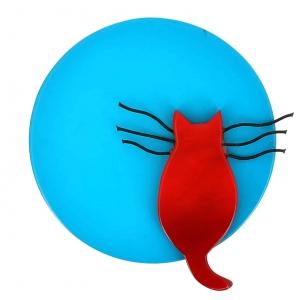 broche chat pleine lune turquoise et rouge