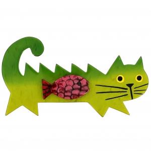 broche chat poisson vert clair