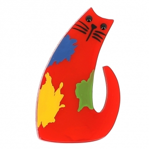 broche chat pollock rouge 0000