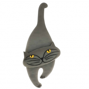 broche chat polo gris
