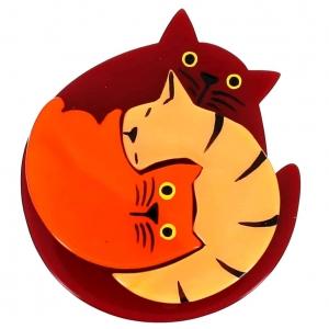 broche chat puzzle bordeau melon et orange