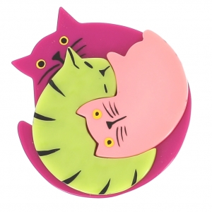 broche chat puzzle fuchsia anis rose