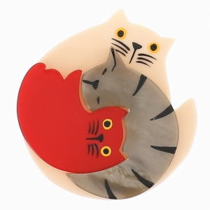 broche chat puzzle ivoire rouge beige