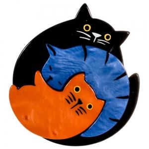 broche chat puzzle noir bleu orange