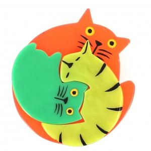 broche chat puzzle orange anis lagon