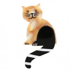 broche chat queue rayures beige marbre