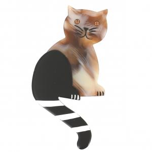 broche chat queue rayures beige motifs
