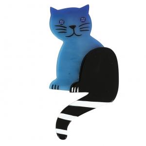 broche chat queue rayures bleu