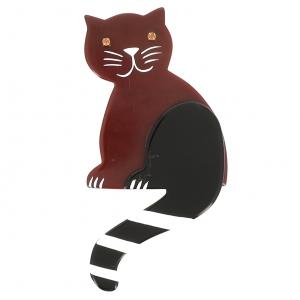 broche chat queue rayures chocolat