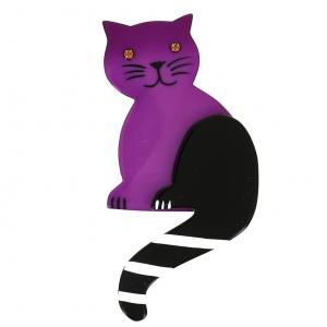 broche chat queue rayures fuchsine