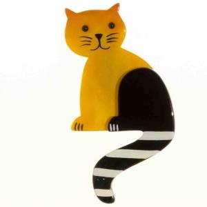 broche chat queue rayures jaune 1