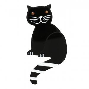 broche chat queue rayures noir et blanc