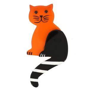 broche chat queue rayures orange 1