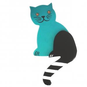 broche chat queue rayures turquoise uni