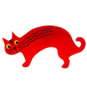 broche chat raspoutine rouge