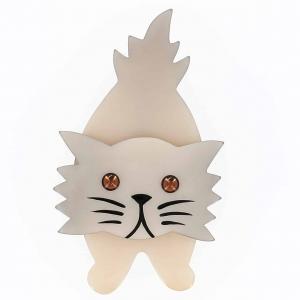 broche chat roc blanc