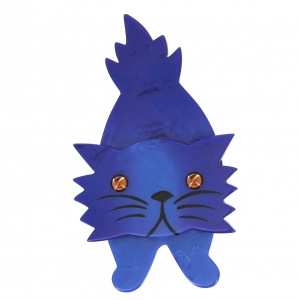 broche chat roc bleu