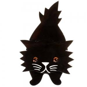 broche chat roc noir