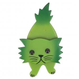 broche chat roc vert pistache