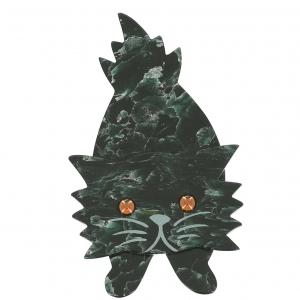 broche chat roc vert veine