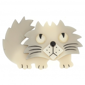 broche chat rocky blanc
