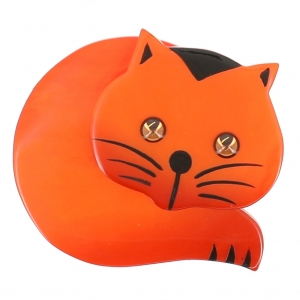 broche chat roudoudou orange