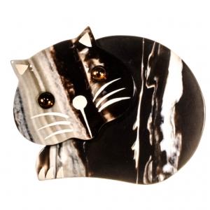 broche chat roudoudou striures