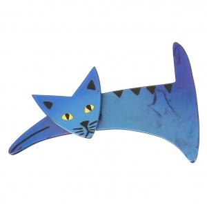 broche chat ruse bleu