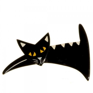 broche chat ruse noir