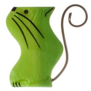 broche chat scoubidou vert