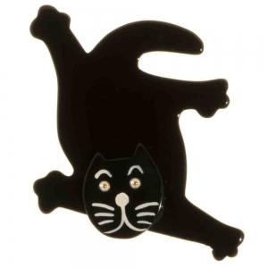 broche chat serpolet aplati noir