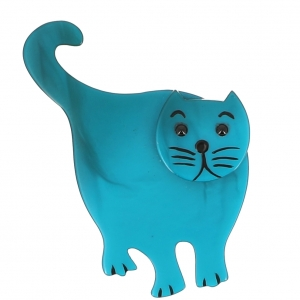 broche chat serpolet debout turquoise