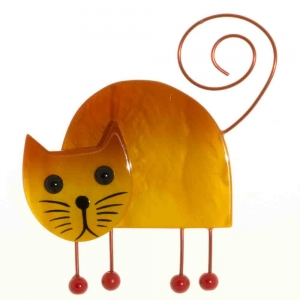 broche chat shabanou jaune