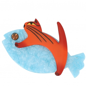 broche chat sinbad ciel brillant orangee