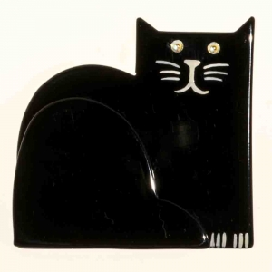 broche chat socrate noir