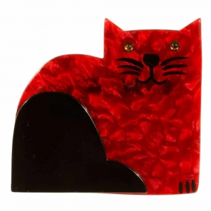 broche chat socrate rouge pom