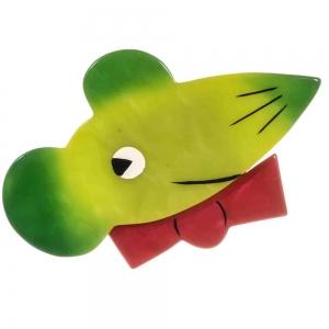 broche chat souris papillon vert