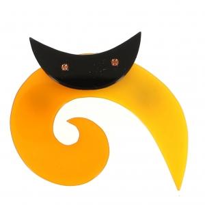broche chat spirale ronde jaune 0000