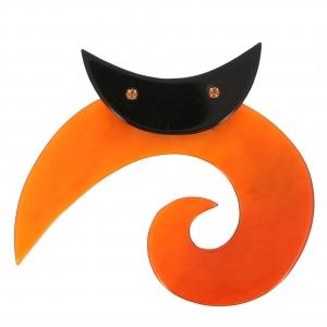 broche chat spirale ronde orange 0001
